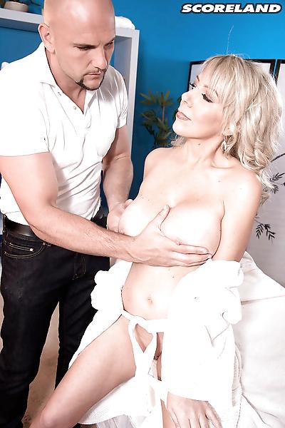 Buxom older blonde mom..