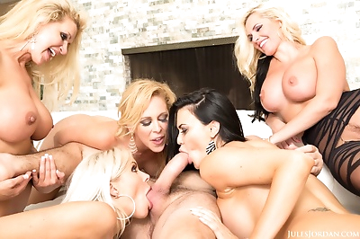 Group of hot moms with big..