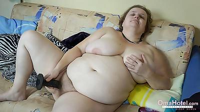 Chubby grandma is sticking..