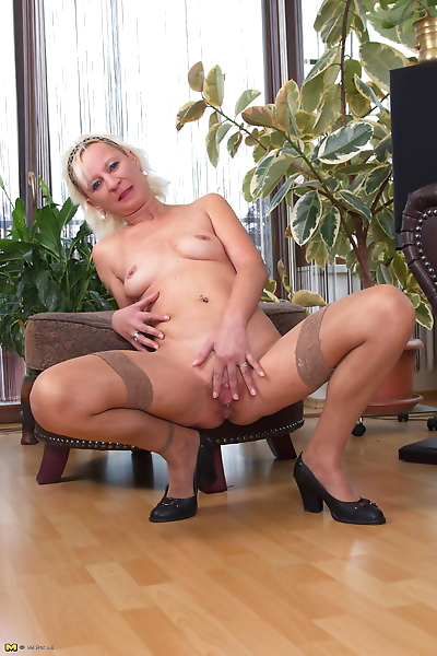Naughty blonde housewife..