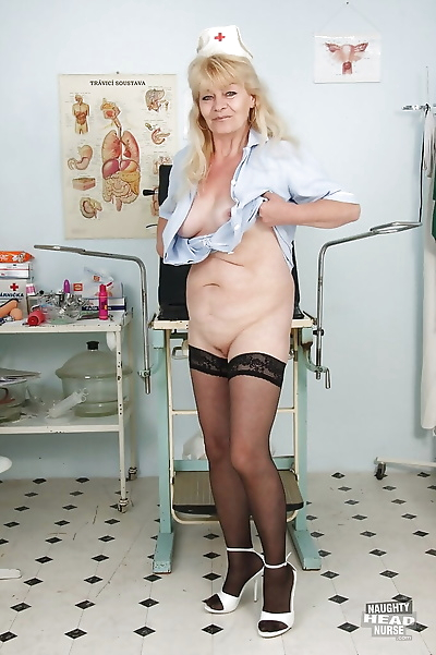 Filthy granny in nurse..