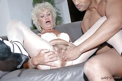 Lustful granny in white..