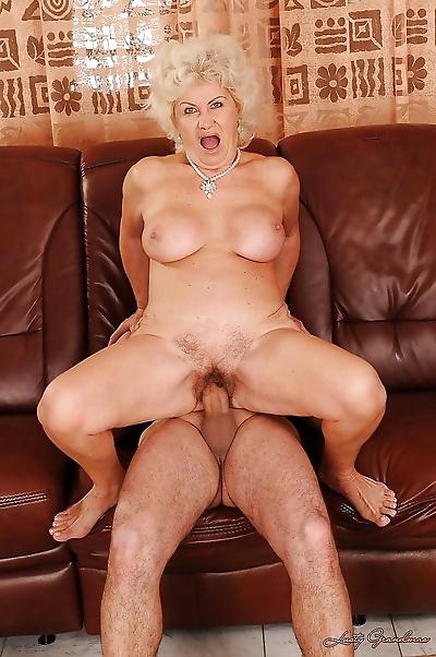 Horny granny with a hairy..
