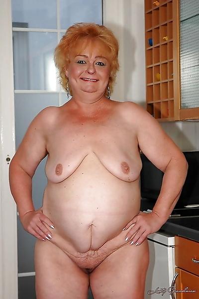 Fatty granny on high heels..
