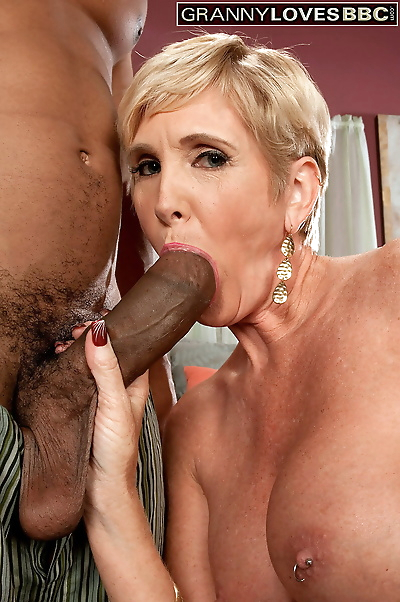 Short-haired blonde mature..