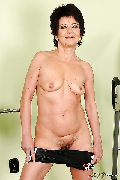 Sporty brunette granny with..