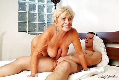 Lustful granny with massive..