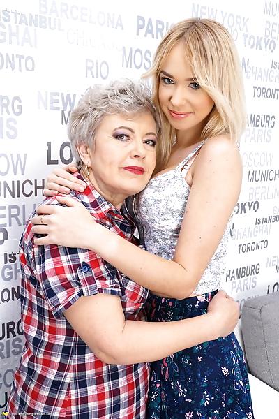 Naughty granny seduces a..