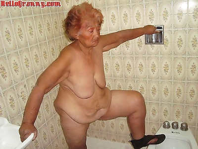 Painted granny in the shower..