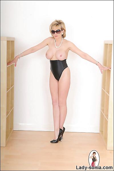 High cut black panties leggy..