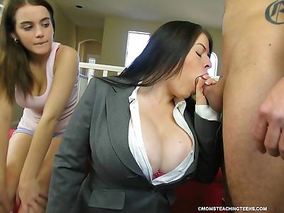 Big boobed mom involves her..