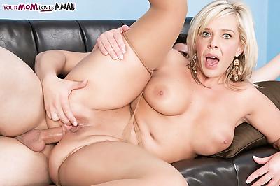 Older blond mom Carey Riley..