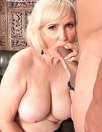 Energizing blonde granny sucks and licks balls before fucking and creampie