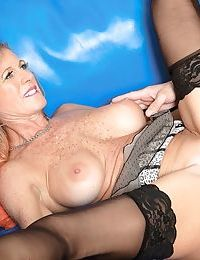 Busty older woman eats a younger guys jizz after riding his dick