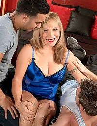 Busty granny takes two cocks in hot threesome sex - part 974