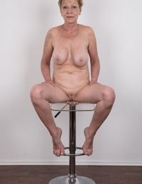 Older mature granny Milena stripping to display her aged body in porn tryout
