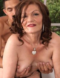 Playful BBW granny Dacia Logan enjoys having hot sex with a younger dude