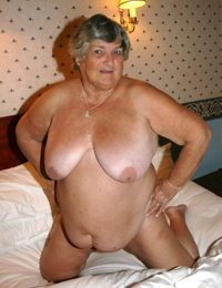 Obese granny Grandmalibby removes lingerie and underwear to model butt naked