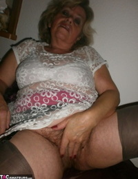 Kinky amateur mature woman Caro reveals and pleases her wolf hairy twat